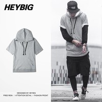 2017 SS Men Hip hop Hood with Drawstring Thin Sweatshirts Short sleeve Hoodies Chinese size!! College Show Clothing customized