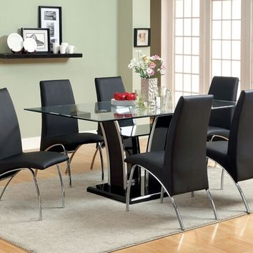 Furniture of america CM8372T-BK-8370BK-7PC 7 pc glenview black finish wood chrome trim base beveled glass top dining table set