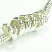 10 Sterling Silver Ring Spacer Beads Compatible With 3mm Snake European Story Charm Chain Cable Bracelets