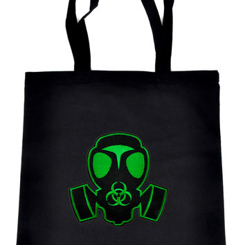 Green Black Ops Gas Mask on Black Tote Book Bag Zombie Handbag