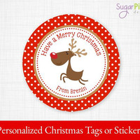 PRINTABLE Christmas Stickers, Christmas Tags, Christmas Reindeer Tags, Christmas Gift tags, Christmas Party Supplies 2.5 inch Circle,