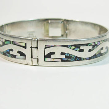 Silver Abalone Bracelet Mexico Inlaid Panels Colorful Shell Heavy Sterling Jewelry Bangle Style