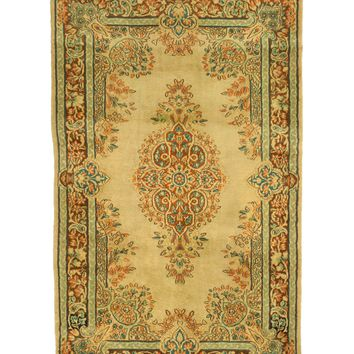 3x5 Overdyed Oriental Nain Floral Faded Olive Green Rug 1302
