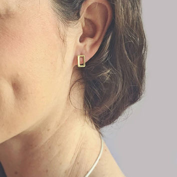 Rectangle Earring Studs // Gold Colored Studs // Minimalist Studs // Minimalist Jewelry // Stud Earrings // Minimalist Earrings // Simple //