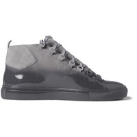 Balenciaga - Arena Glossed-Suede High Top Sneakers | MR PORTER