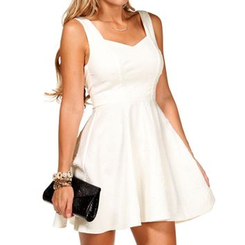 White Bow Back Embossed Scuba Dress