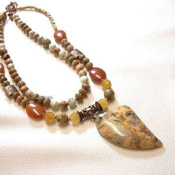 Mexican crazy lace agate heart pendant necklace with unakite, agate, red aventurine and jasper natural stones. Double strand necklace