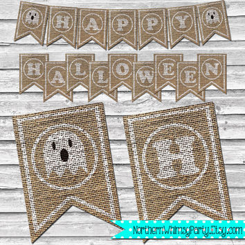 Happy Halloween Burlap Ghost Banner – DIY Printable Rustic Home Decor – Kids Halloween Party White Ghost Decoration - INSTANT DOWNLOAD