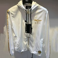 BOY LONDON 2018 spring and autumn hot stamping combat wings round neck pullover jacket F-Great Me Store white