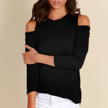 Gimme The Cold Shoulder Top Black