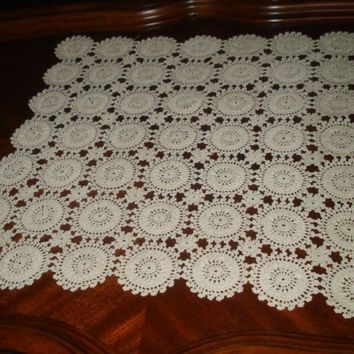 Brand new Crochet Ivory, Ecru Lace Table Runner, Square Crochet Doily, Square Tablecloth, Crochet Lace Doily, Ecru Doily, Ready to ship