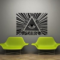 Wall Decal Art Decor Decals Sticker Amulet Spell Eye Illuminati Annuit Coeptis Providence Protection Triangle See (M1145)