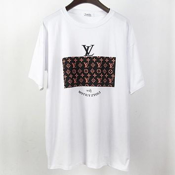 LV Louis Vuitton Fashion New Summer Monogram Print Women Men Top T-Shirt White