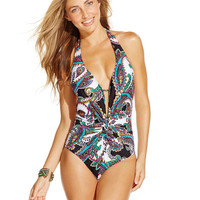 Kenneth Cole Printed Plunge Twist-Front One-Piece Swimsuit