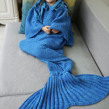 Mermaid Tail Blanket Yarn Knitted Handmade Crochet Mermaid Blanket Kids Throw Bed Wrap Super Soft Sleeping Bed 4 Color Chioce