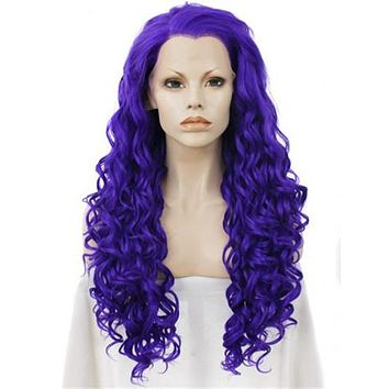 Pure Violet Purple Color Spiral Curly Long Synthetic Lace Front Wig