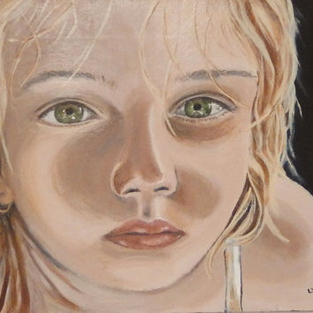 """Original painting of a little girl with green eyes and blonde hair - Portrait painting - Wall art - Home decor - 8.1 x 10.1"""""""