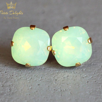 Mint Opal Stud Earrings Mint Swarovski Stud Earrings Rounded Square Crystal Earrings, Mint Green Opal Bridal Earrings