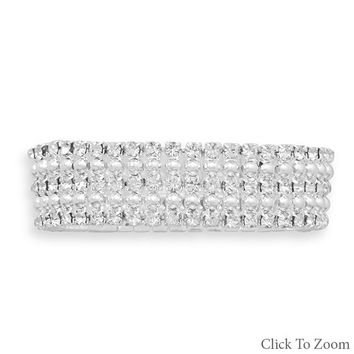 Silver Tone Bead and Crystal Fashion Stretch Bracelet