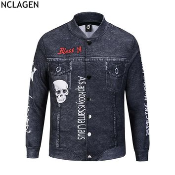 Men 3D Creative Jeans Jackets Skull Letter Print Slim Fit Long Sleeve Streetwear Blue Black Casual Denim Button Coat