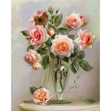 HOME BEAUTY diy oil painting by numbers wall decor picture on canvas drawing coloring by number flowers oil paint rose J014