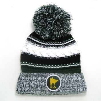 Chunky Knit Pom Pom Beanie - Minnesota Forest Green and Black