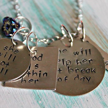 Bible Verse Jewelry, First Communion, Psalm 46 5, Mother Jewelry, Grandmother Jewelry, Hand Stamped Necklace
