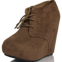 Taupe Faux Suede Almond Toe Lace Up Hidden Platform Wedge Ankle Bootie Joana-20