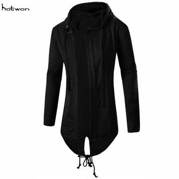Men hooded jacket long cardigan black ninja goth gothic punk hoodie