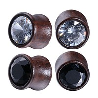 BodyJ4You 4PC Crystal Jeweled Saddle Plugs Natural Wood Ear Gauges Tunnels Stretcher Set 00G (10mm)