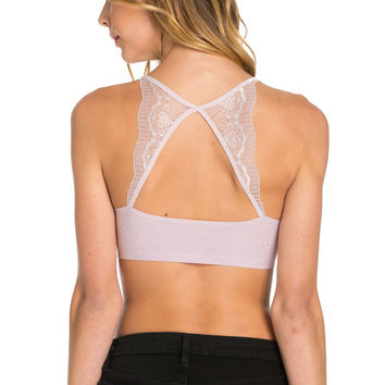 Lavender Lace Trim Open Back Jersey Mesh Sports Bra