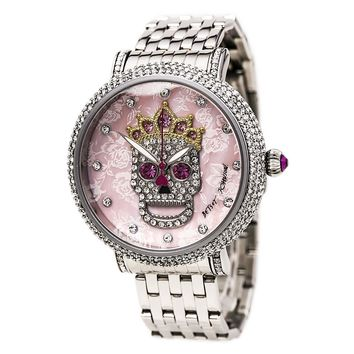 Betsey Johnson BJ00396-05 Women's Skull Motif Pink MOP Dial Steel Bracelet Crystal Watch
