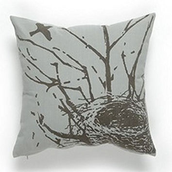 Birds Nest - Oversized Cotton Throw Pillow - 17-in x 17-in - Gray