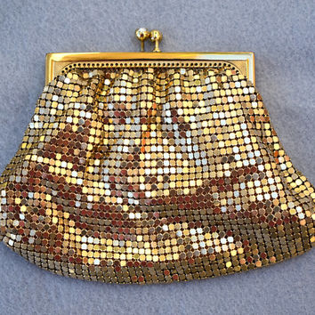 Gold Mesh Purse Small Size Clutch Vintage