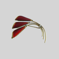Oystein Balle Brooch, Modernist, Norway Sterling Flower Pin, Vintage Floral Brooch, Rich Red Enamel & Gilded Sterling Silver