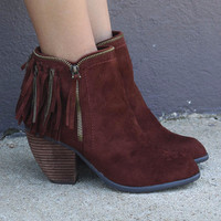 NAUGHTY MONKEY Flippin' Fringe Rust Ankle Boot Suede Fringe Bootie Tassels