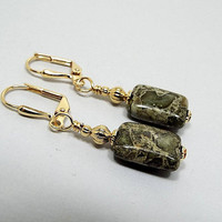 Gemstone Earrings, Green Brecciated Jasper, Green Earrings, Boho Earthy, Drop Earrings, Gold Plated, Clip on Earrings Lever Back Hook