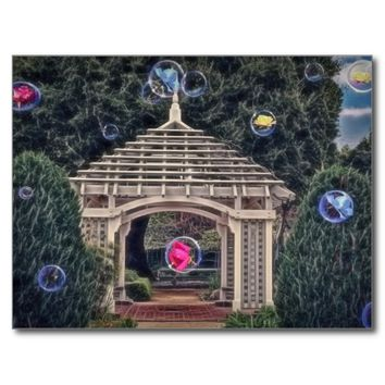 """A gazebo with """"floating roses"""", on a post card"""
