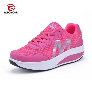 ALDOMOUR Fitness Shoes Women's swing Sport for Women Swing Wedges platform zapatos mujer trainers tenis feminino Toning Shoes
