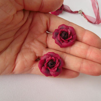Rose bordeaux earrings studs polymer clay  fashion 2015 gift for her flower jewelry flower claret earrings dark roses studs Rose vinous stud