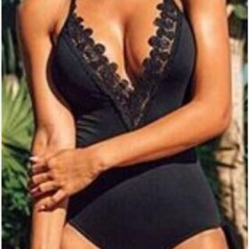 CUTE DARK V BLACK LACE ONE PIECE BIKINI