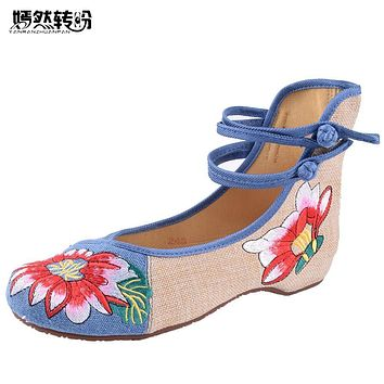 Women Flats Plus Size 41 Spring/Summer Woman Cloth Shoes Chinese Flower Embroidery Casual Dancing Flats For Woman Zapatos Mujer