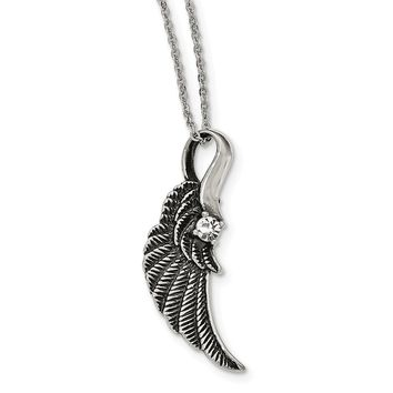 Stainless Steel Antiqued and Polished with Crystal Wing Necklace 20in