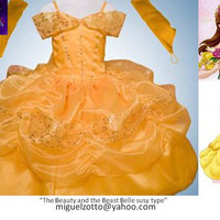 Belle disney princess yellow dress The Beauty and The Beast costume ball gown girl bridesmaid cupcake glitz prom party quince pageant XV 16