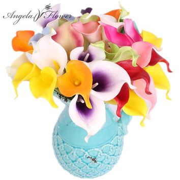 HI-Q 31PCS Artificial decorative flowers PU Real Touch Mini Calla Lily Wedding flower bouquet  for HOME table decoration office