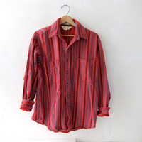 80s Big Mac mens shirt. striped red button down shirt. men's large.