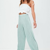 Missguided - Green Crinkle Pleated Wide Leg Trousers