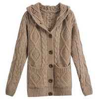 MapleClan Women's Hooded Mohair Cable Kint Sweater Coat Brown