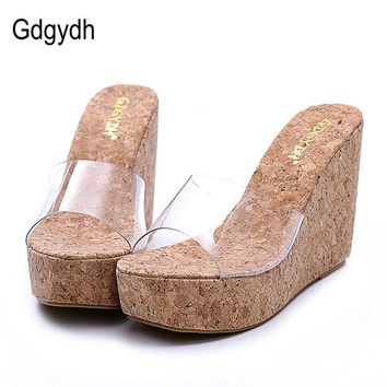 Gdgydh 2017 New Summer Transparent Platform Wedges Sandals Women Fashion High Heels Female Summer Shoes Size 34-39 Drop Shipping