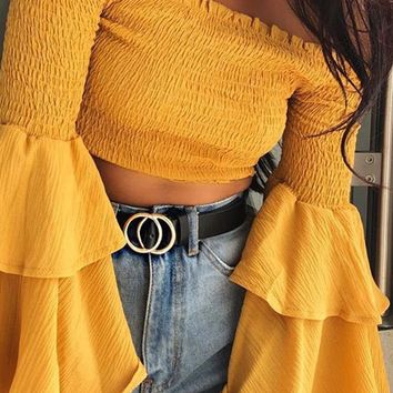 Always A Star Yellow Long Bell Sleeve Smocked Off The Shoulder Crop Top - 4 Colors Available